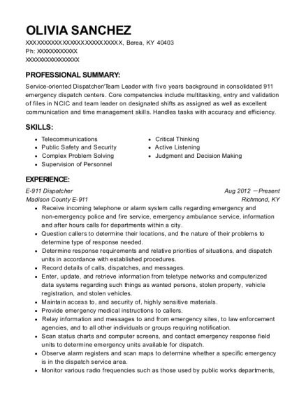 E 911 Dispatcher resume format Kentucky