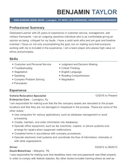 Vehicle Relocation Specialist resume sample Kentucky