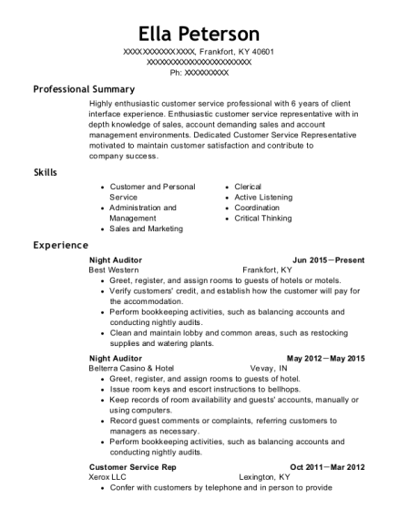 Night Auditor resume template Kentucky