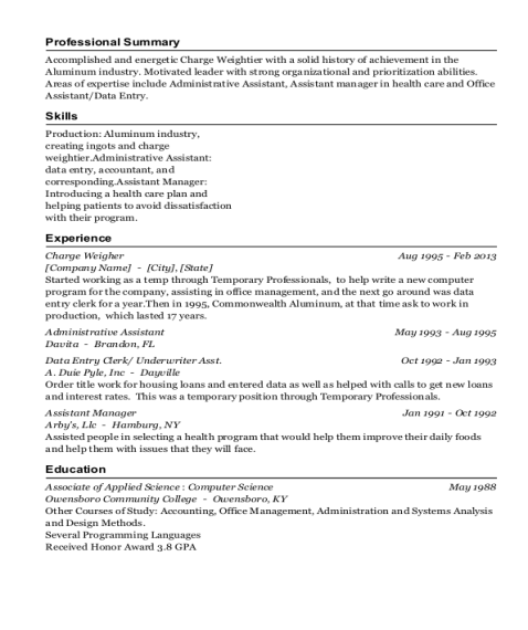 Charge Weigher resume sample Kentucky