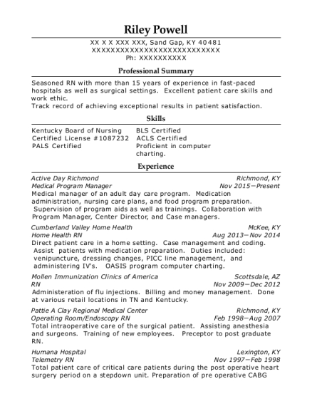 Medical Program Manager resume template Kentucky