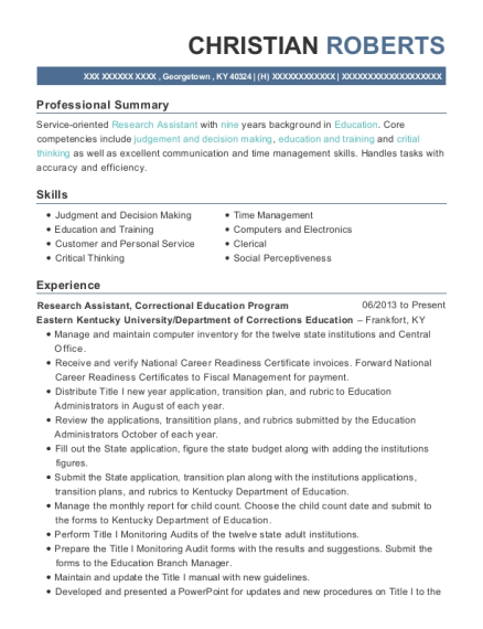 Research Assistant resume format Kentucky