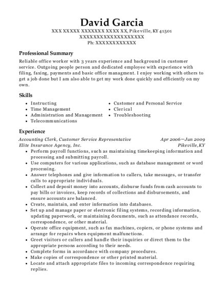 Accounting Clerk resume template Kentucky