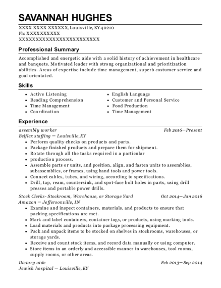 assembly worker resume format Kentucky