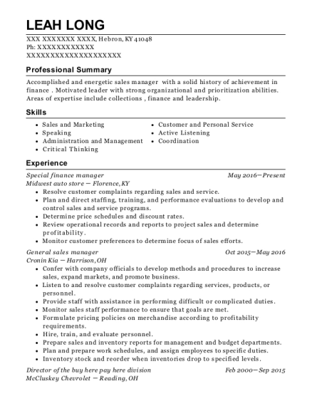 Special finance manager resume format Kentucky