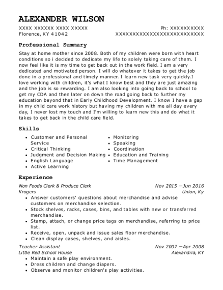 Non Foods Clerk & Produce Clerk resume format Kentucky