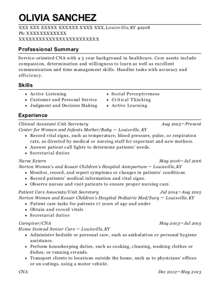 Clinical Assistant Unit Secretary resume sample Kentucky