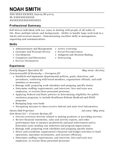 Family Support Specialist III resume example Kentucky