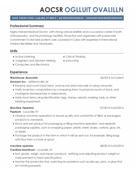 Warehouse Associate resume sample Kentucky