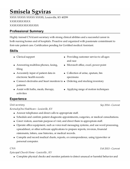 Unit Secretary resume format Kentucky