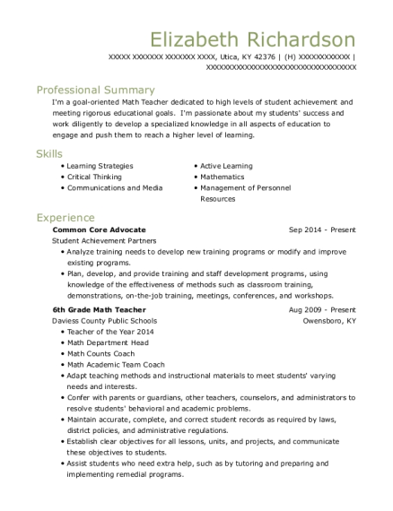 Common Core Advocate resume template Kentucky