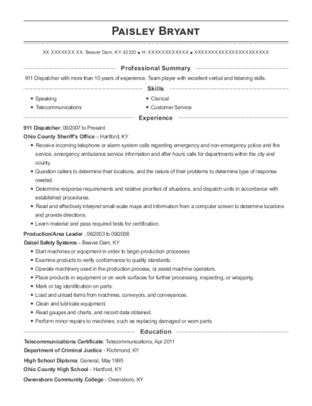 911 Dispatcher resume sample Kentucky