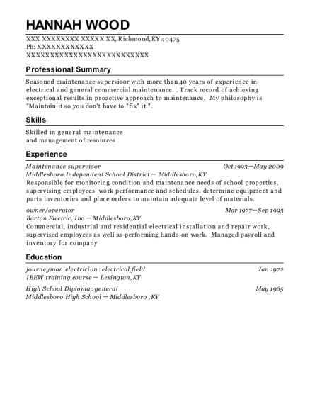 Maintenance Supervisor resume example Kentucky