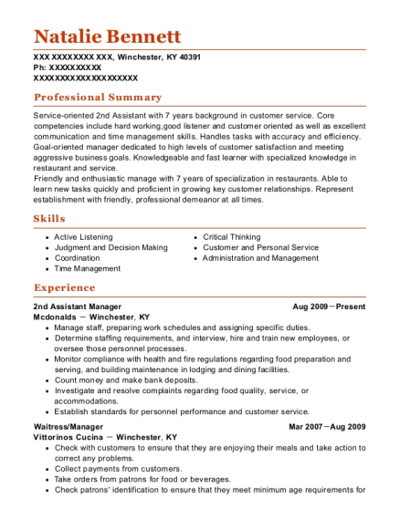 2nd Assistant Manager resume example Kentucky