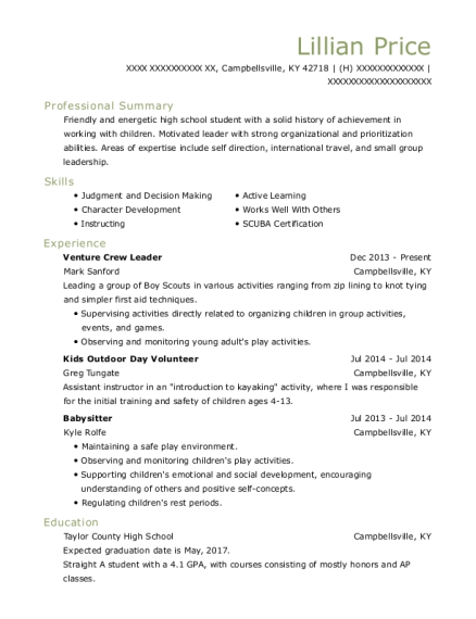 Venture Crew Leader resume sample Kentucky