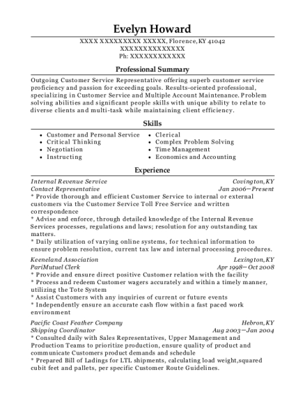 Contact Representative resume sample Kentucky