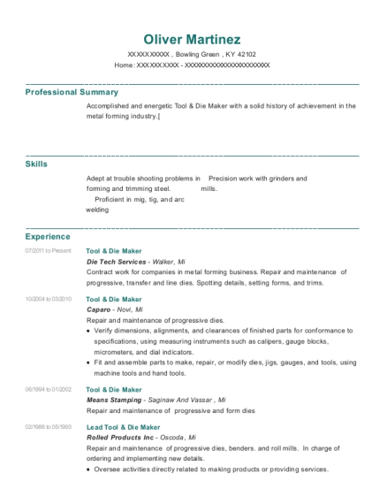Tool & Die Maker resume example Kentucky