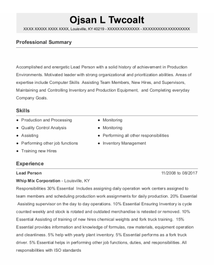 Lead Person resume template Kentucky