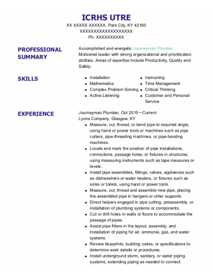 Journeyman Plumber resume format Kentucky