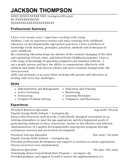Preschool Resource Specialist resume sample Kentucky