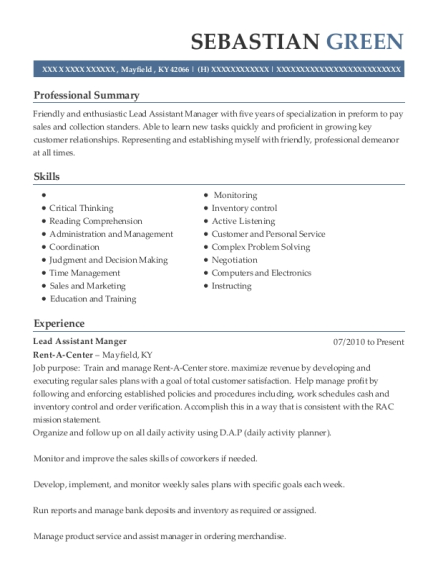 Lead Assistant Manger resume sample Kentucky