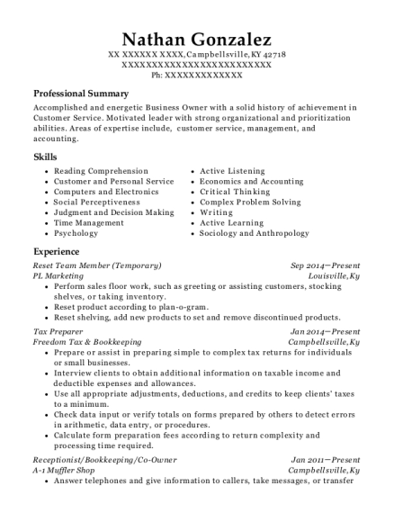 Reset Team Member resume example Kentucky