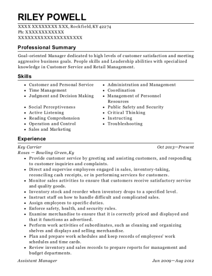 Key Carrier resume sample Kentucky