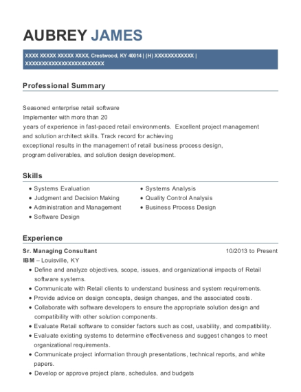 Sr Managing Consultant resume sample Kentucky