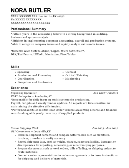 Reporting Specialist resume template Kentucky