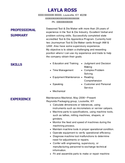 Maintenance Machinist resume sample Kentucky