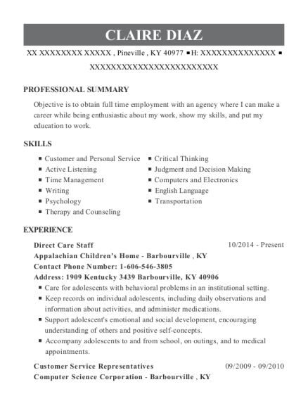 Direct Care Staff resume format Kentucky