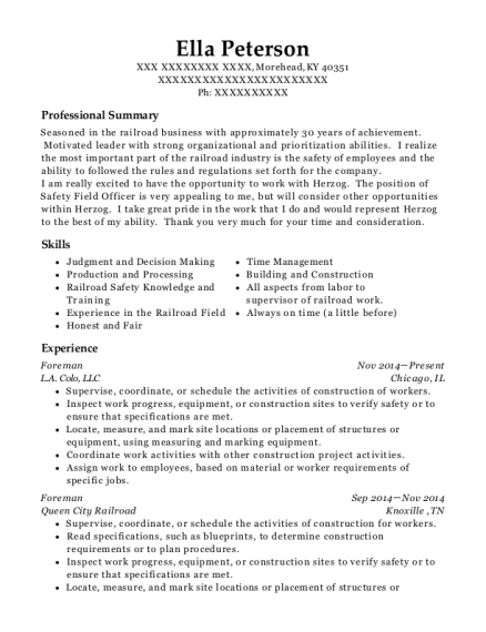 Foreman resume template Kentucky