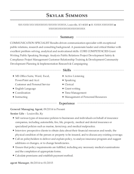 General Managing Agent resume format Kentucky