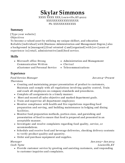 Food Service Manager resume format Kentucky
