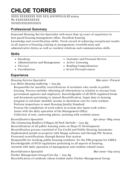 Housing Service Specialist resume template Kentucky