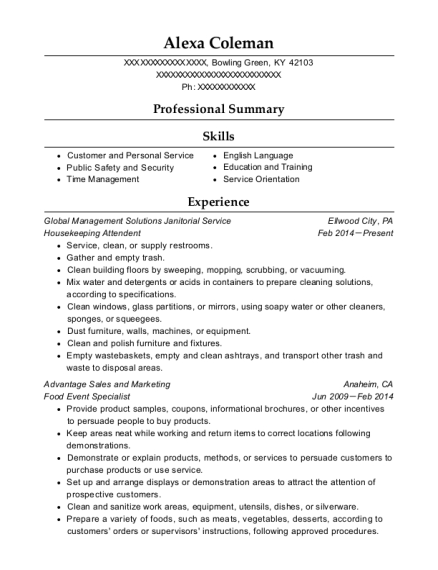 Housekeeping Attendent resume template Kentucky