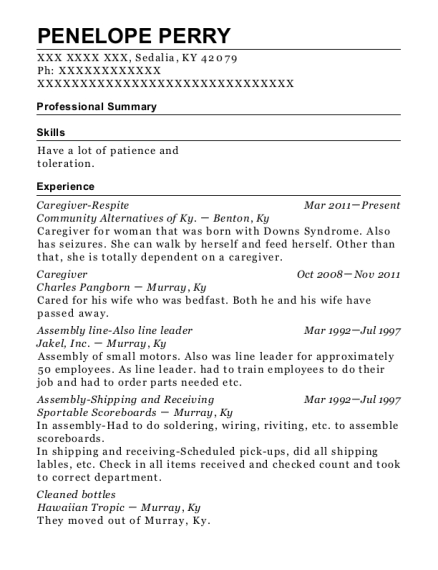Caregiver Respite resume sample Kentucky