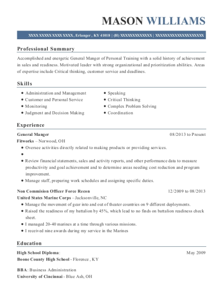 General Manger resume template Kentucky