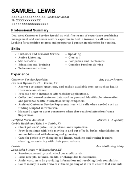 Customer Service Specialist resume example Kentucky