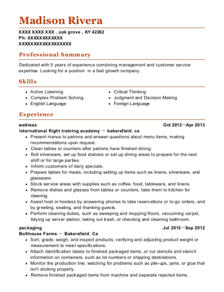 Waitress resume format Kentucky
