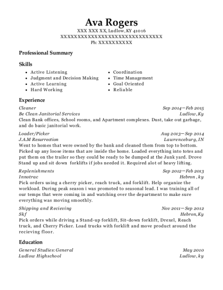 Cleaner resume template Kentucky