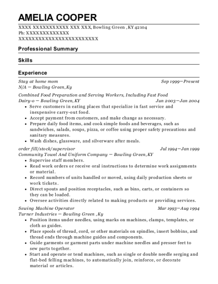 Stay at home mom resume template Kentucky
