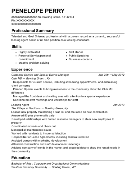 Customer Service and Special Events Manager resume template Kentucky