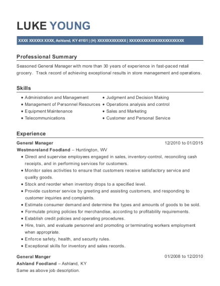 General Manager resume format Kentucky