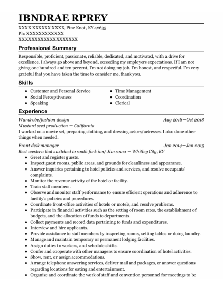 Wardrobe Consultant resume sample Kentucky