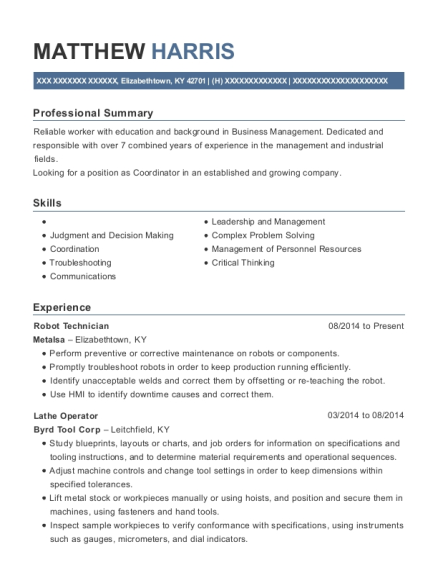 Robot Technician resume template Kentucky