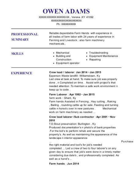 Crew lead resume example Kentucky