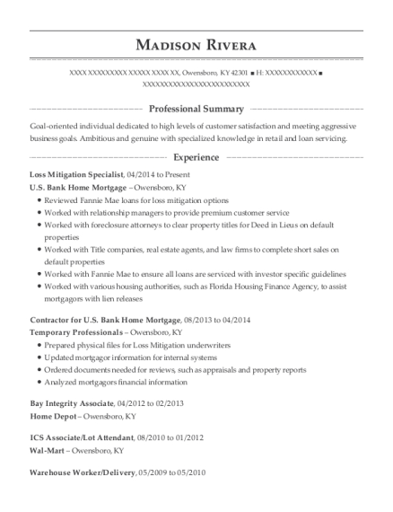 Loss Mitigation Specialist resume template Kentucky