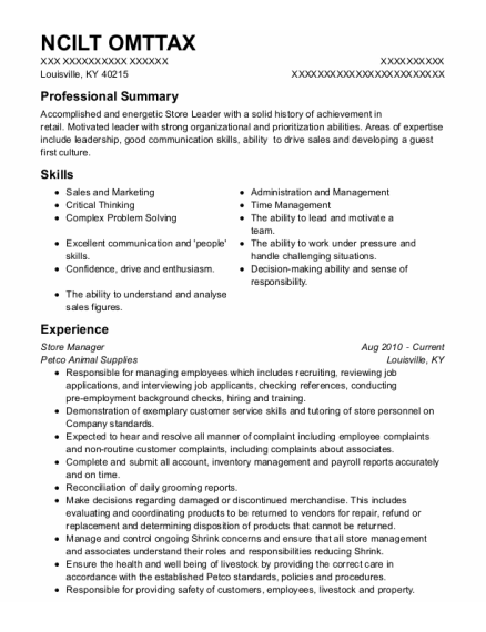 Store Manager resume sample Kentucky