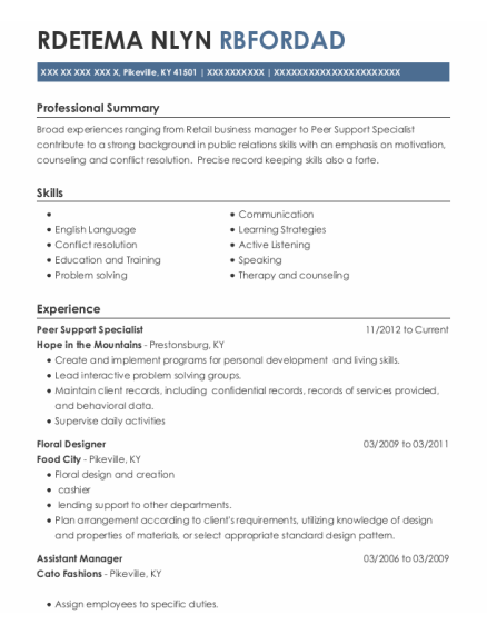 Peer Support Specialist resume format Kentucky